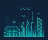 Linha na moda arte da ilustração do vetor da cidade do Tóquio Fotografia de Stock