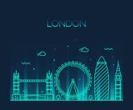 Linha na moda estilo da ilustração de Londres Inglaterra da arte Fotografia de Stock Royalty Free