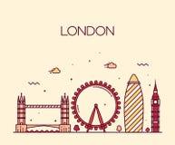 Linha na moda estilo da ilustração de Londres Inglaterra da arte ilustração royalty free
