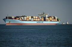 Linha navio de Maersk de recipiente Fotografia de Stock