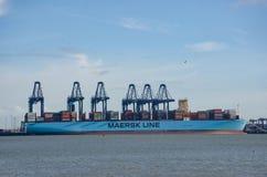 Linha navio de Maersk de recipiente no porto em Flexistowe com os guindastes no fundo Fotografia de Stock