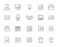 Linha negócio e ícones do equipamento de escritório ilustração royalty free