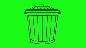 Linha nimation de balde do lixo em uma tela verde ilustração do vetor
