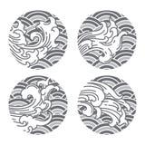 Linha oriental japonesa estilo e fundo cinzento da onda da onda thai chin?s ilustração stock