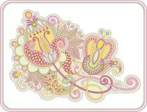 Linha original projeto ornamentado da tração da mão da flor da arte Imagens de Stock Royalty Free