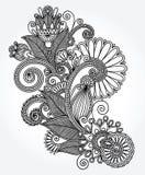 Linha original projeto ornamentado da tração da mão da flor da arte Foto de Stock Royalty Free