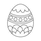 Linha ovo da páscoa pintado preto e branco da arte ilustração do vetor