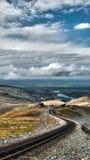 Linha paisagem do trem de Snowdonia Foto de Stock