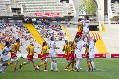 Linha para fora ação do rugby Imagens de Stock