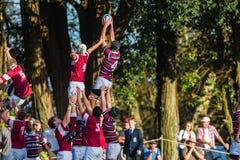 Linha-para fora salto da ação do rugby Imagens de Stock