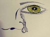 Linha parcial de grito ponto do retrato do olho da arte da cor Imagem de Stock Royalty Free