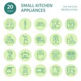 Linha pequena ícones dos dispositivos da cozinha Agregado familiar que cozinha sinais das ferramentas Equipamento da preparação d Imagens de Stock