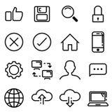 linha perfeita grupo de 16 pixéis do ícone Fotos de Stock