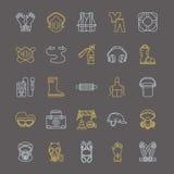 Linha pessoal ícones do equipamento de proteção A máscara de gás, a boia de anel, o respirador, o tampão da colisão, as tomadas d ilustração do vetor