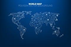 Linha polígono da conexão do ponto do mapa do mundo: conceito do mundo digital, conexão de dados ilustração stock