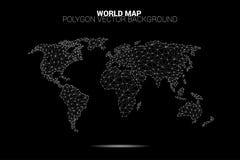 Linha polígono da conexão do ponto do mapa do mundo: conceito do mundo digital, conexão de dados ilustração do vetor