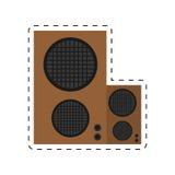 linha pontilhada da música audio do defletor do orador ilustração stock