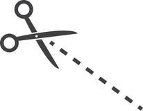 Linha pontilhada das tesouras Imagem de Stock