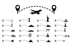 Linha pontilhada trajeto com ponteiro do mapa, atração cultural conceito do curso ilustração royalty free