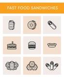 9 linha preta ícones de sanduíches diferentes ilustração stock