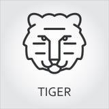 Linha preta arte do estilo do ícone, tigre principal do animal selvagem ilustração royalty free