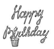 Linha preta citações do feliz aniversario isoladas no fundo branco Imagens de Stock Royalty Free