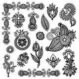 Linha preta coleção ornamentado do projeto da flor da arte Imagens de Stock