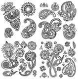 Linha preta coleção ornamentado do projeto da flor da arte, Fotos de Stock Royalty Free