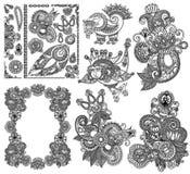 Linha preta coleção ornamentado do projeto da flor da arte, Fotografia de Stock Royalty Free