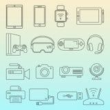 Linha preta grupo isolado ícones dos dispositivos de Digitas ilustração stock