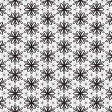 Linha preta na moda projeto das pétalas florais funky da flor das folhas da folha que repete a estrela geométrica do projeto sem  Imagem de Stock