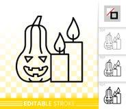 Linha preta simples ícone da abóbora de Dia das Bruxas do vetor ilustração stock