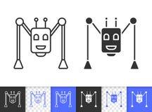 Linha preta simples ícone da aranha do robô do vetor ilustração stock