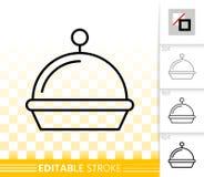 Linha preta simples ícone da bandeja do alimento do vetor do restaurante ilustração do vetor