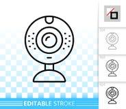 Linha preta simples ícone da câmera de Web do vetor ilustração stock