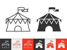 Linha preta simples ícone da tenda do circus do vetor ilustração stock