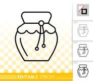 Linha preta simples ícone de Honey Jar do vetor ilustração do vetor