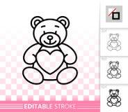 Linha preta simples ícone do brinquedo bonito da peluche do urso do vetor ilustração royalty free
