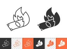 Linha preta simples ícone do dinheiro ardente do vetor ilustração do vetor