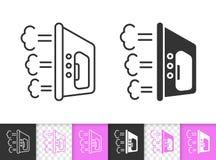 Linha preta simples ícone do ferro do vetor ilustração stock
