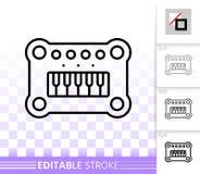 Linha preta simples ícone do piano do bebê do vetor ilustração stock
