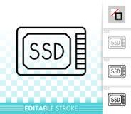 Linha preta simples ícone do Ssd do vetor ilustração royalty free