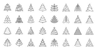 Linha preta simples grupo da árvore de Natal do vetor dos ícones ilustração royalty free