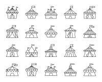 Linha preta simples grupo da tenda do circus do vetor dos ícones ilustração royalty free