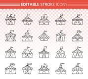 Linha preta simples grupo da tenda do circus do vetor dos ícones ilustração do vetor