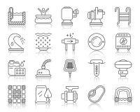 Linha preta simples grupo do equipamento da associação do vetor dos ícones ilustração royalty free