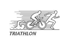 Linha preta triathlon do vetor do logotipo Fotografia de Stock