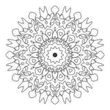 Linha preto e branco arte Mandala Illustration da folha floral Foto de Stock