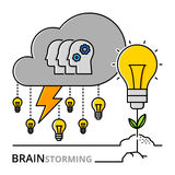 Linha projeto brainstorming ilustração royalty free