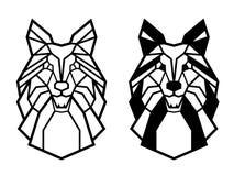 Linha projeto criativo do vetor do sumário do cão de puxar trenós Siberian do cão da cara das formas ilustração do vetor